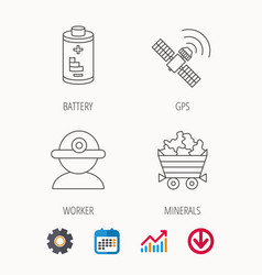worker minerals and gps satellite icons vector image