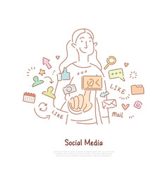 young woman surrounded with likes comments vector image