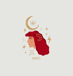 zodiac girl aries character space head sign vector image