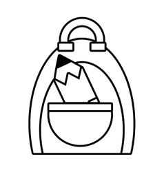 Bag pencil school pupil outline vector