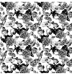 Monochrome Seamless Pattern with Vintage Roses vector image vector image