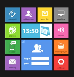 Web color tile interface template vector image vector image