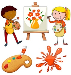 Artists painting on canvas vector