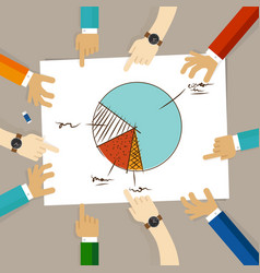 pie chart team work on paper looking to business vector image