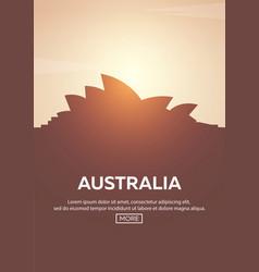 Travel poster to australia landmarks silhouettes vector