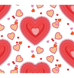 Valentine seamless background with hearts vector image