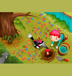 woodpecker and the boy are seeding an apple seed vector image