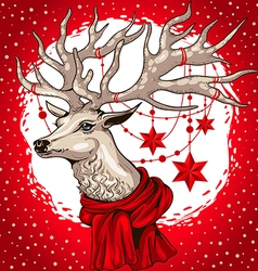 deer head with antlers decorated Christmas garland vector image