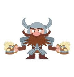 Dwarf with beer mugs vector image vector image