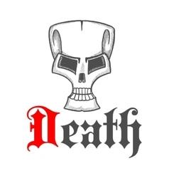 Old cracked skull vintage sketch symbol vector image vector image