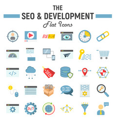 seo and development flat icon set business signs vector image