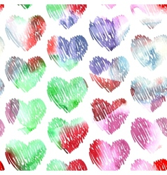 Watercolor hearts seamless pattern on white vector image