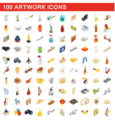 100 artwork icons set isometric 3d style vector image