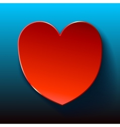 Blue card for valentines red heart vector