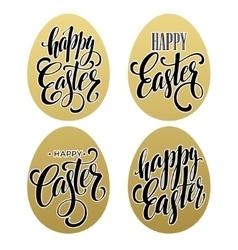 Happy easter Calligraphic lettering egg golden vector image