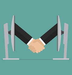 Partnership handshake from two computer vector image