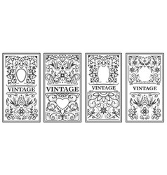 set of vintage frames design elements for poster vector image