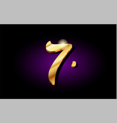 7 seven number numeral digit golden 3d logo icon vector