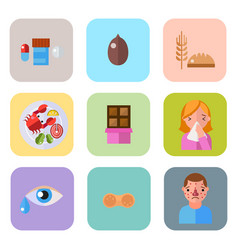 allergy symbols disease healthcare tablets viruses vector image