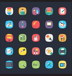 app flat icons set vector image