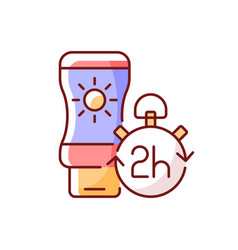 Apply sunscreen every 2 hours rgb color icon vector
