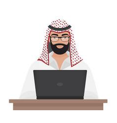 Arab muslim businessman or programmer working vector