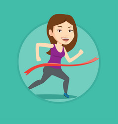 Athlete crossing finish line vector
