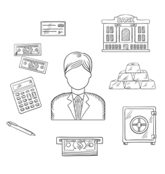 Banking economy and finance sketched icons vector image