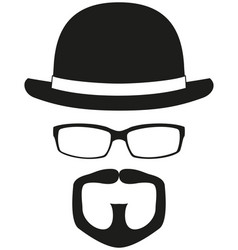 Black and white hipster avatar silhouette vector
