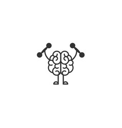 black brain with dumbbells icon intellect vector image