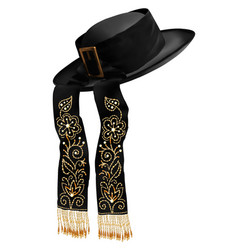 black breton traditional mens hat with vector image