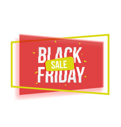 black friday sale banner with red yellow shapes vector image