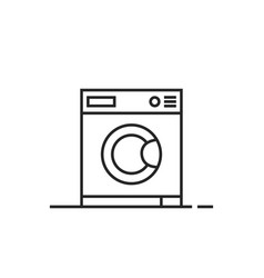 black thin line washing machine icon vector image