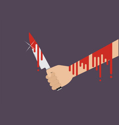 Bloody hand holding a knife vector