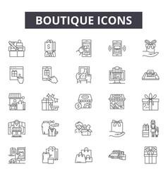 Boutique line icons signs set outline vector