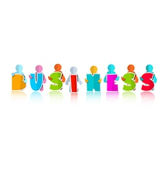 Business Colorful Title with Paper People vector image