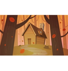 Cabin in woods - Autumn vector image