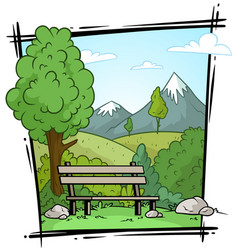 Cartoon nature landscape and bench background vector