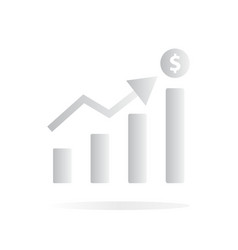 chart growing bar icon on white background flat vector image