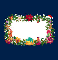 christmas winter holiday greetings blank frame vector image