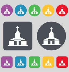 Church Icon sign A set of 12 colored buttons Flat vector image