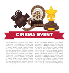 cinema event promotional poster template with vector image