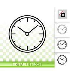 clock simple black line icon vector image