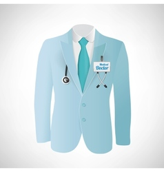 Close up of a doctors lab blue coat vector