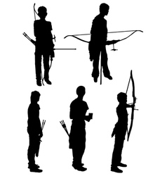 Collection of silhouettes of people of archers vector