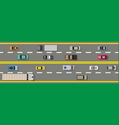 Collection various vehicles top view road vector