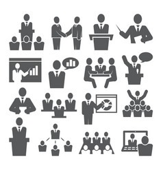 Conference icons set on white background vector