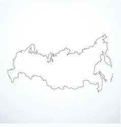 Contour russian federation map vector