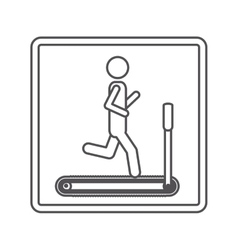 contour square shape pictogram with man in vector image