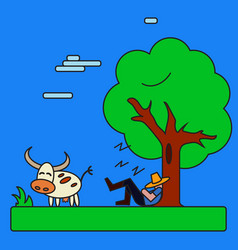 cow and man under tree on blue background vector image
